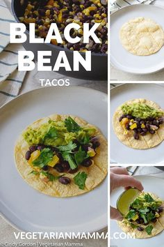 Vegetarian Black Bean Tacos Does your family love taco night? Black Bean Tacos are easy to make and will bring something new to your dinner table on taco night! Vegetarian Mexican Recipes, Vegetarian Lunch, Vegetarian Recipes Dinner, Vegan Dinners, Vegan Recipes, Cooking Recipes, Free Recipes, Vegan Foods, Delicious Recipes
