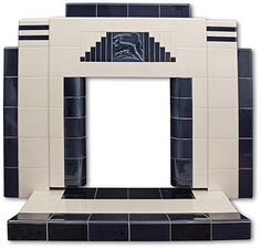 Gazelle all tiled Art Deco fireplace. This isn't an original but a modern day fireplace that you can purchase for around 1300 pounds in the UK ; House, Art Deco Bathroom Tile, Home, Art Deco Bathroom, Art Deco Fireplace, Deco Furniture, Tile Art, Fireplace, Fireplace Tile