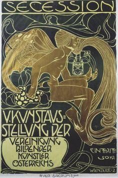 Exhibition posters for the Vienna Secession. Artists inlcude Gustav Klimt, Koloman Moser and Joseph Maria Olbrich. Art And Illustration, Koloman Moser, Posters Vintage, Retro Poster, Vintage Art, Arts And Crafts Movement, Gustav Klimt, Arte Art Deco, Jugendstil Design