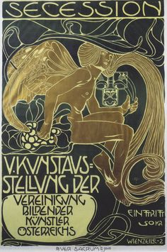 """books0977: """" Poster for the 5th Exhibition of the Wiener Secession. Koloman Moser (Austrian, 1868-1918). There is not one style that unites the work of all artists who were part of the Vienna..."""