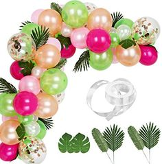 Auihiay 83 Pieces Tropical Balloons Garland Kit DIY Luau Balloon Arch Garland with Palm Leaves and Balloon Strip for Tropical Theme Birthday Party Baby Shower Decorations Hawaiian Party Decorations, Baby Shower Decorations, Birthday Decorations, Champagne Balloons, Gold Balloons, Confetti Ballons, Luau Theme, Birthday Party Themes, Hawaiin Theme Party