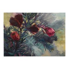 """""""Five Tall Proteas"""", Original Oil on Canvas, Jenny Parsons, South Africa 2012 Protea Art, Nature Reserve, Urban Landscape, Oil Painting On Canvas, South Africa, Vintage Antiques, African, Abstract, Artwork"""