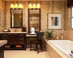 Bathroom Vanities, Modern Wallpaper In The Small Bathroom With Single Sink Bathroom  Vanity With Makeup