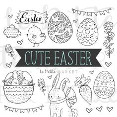 Cute Easter Clip Art Set Easter Clipart Easter by LePetiteMarket