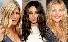 Three ladies who have mastered the art of the beachy waves: Jennifer Aniston, Mila Kunis, and Kate Hudson.
