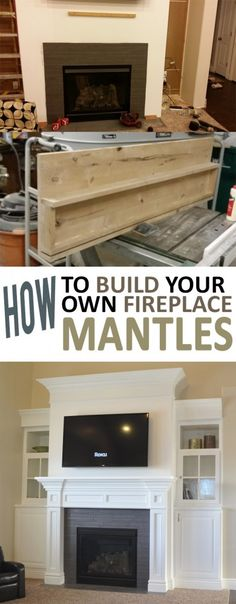 DIY a fireplace mantel This step by step tutorial is how to build a fireplace mantel a project that will add value to your living space. It will require some intermediate woodworking skills and some power tools. Build A Fireplace, Home Fireplace, Faux Fireplace, Fireplace Remodel, Fireplace Surrounds, Fireplace Design, Faux Mantle, How To Build A Mantle, Fireplace Makeovers