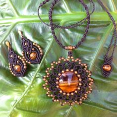 """Conjunto de macramê com Olho de Tigre  ((((VENDIDO)))) #macrame #macramejewelry…"