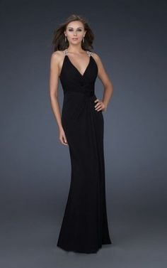 Deep V-Neck La Femme 17007 Black Embellished Evening Gowns