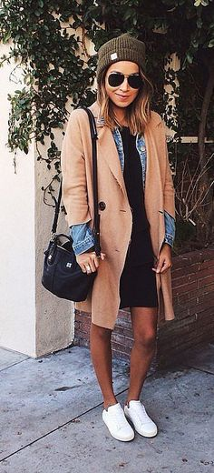 Camel Coat Layered With a Jean Jacket