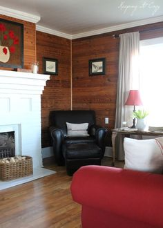 Keeping It Cozy: The Living Room: Sally! White base board and crown molding in the living room? Just thought it could brighten it up? :) We love your home! Knotty Pine Rooms, Knotty Pine Decor, Knotty Pine Paneling, Knotty Pine Kitchen, Cedar Walls, Wood Walls, Plank Walls, Cedar Room, Wood Paneling Makeover