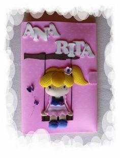 Capa para Caderno Decorada e Personalizada em EVA - Ana Rita