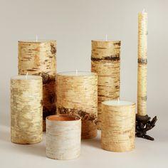 Birch Bark Candles, $4.99-$24.99, World Market -- to fill a fireplace?