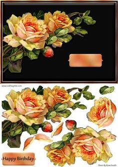 Striking Orange Roses Quick Card on Craftsuprint designed by Russ Smith - Landscape A5 card front and decoupage layers using a vintage painting of orange roses on a contracting black background. Makes a beautiful, striking card when made up. I have made the decoupage as easy as possible for you to cut. - Now available for download!