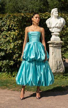Square-Neck Silk Bubble Dress by Rasario Satin Dresses, Elegant Dresses, Pretty Dresses, Bridal Dresses, Strapless Dress Formal, Party Fashion, Runway Fashion, Girl Fashion, Fashion Design