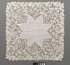 Handkerchief  Possibly designed by Emma Radford  (British, 1837–1901)    Date:      second half 19th century  Culture:      English (Devon)  Medium:      Linen and cotton, bobbin lace (Honiton)