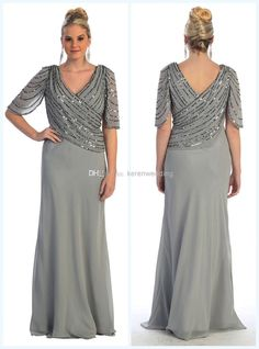 Wholesale Mother of the Bride Dress - Buy Spring New Arrival Plus Size Beading Chiffon Mother Of The Bride Dresses V-Neckline Half Sleeve Sh...