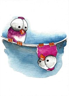ACEO Original watercolor art painting whimsical birds on wire upside down bird #IllustrationArt