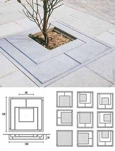 Clever tree grille patterning; easily used in domestic design too