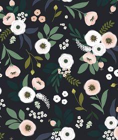 Papier peint fleurs fond sombre- décoration enfant - LILIPINSO