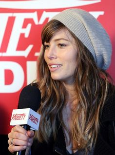 Hat-hair look #3: bohemian-sexy   This one is for your good hair days. At Sundance, Jessica Biel demonstrated the beauty of the slouchy knit cap--it doesn't muss up or mush a perfect wavy hairstyle. If you have bangs, position the hat behind them so you maintain their face-framing loveliness.