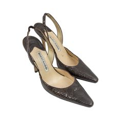 For Sale on - Manolo Blahnik Brown Snake Skin Heels; size Leather lined; these shoes are in gently worn condition with some wear High Heels, Shoes Heels, Pumps, Manolo Blahnik, Harrods, Snake Skin, Designer Shoes, Catwalk, Cool Style