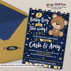 Little Bear Baby Shower invitation Navy Blue and gold prince Bear Invitation DIY printable couples crown prince Bear baby shower invite Baby Shower Oso, Teddy Bear Baby Shower, Boy Baby Shower Themes, Gender Reveal Party Invitations, Baby Shower Invitations For Boys, Diy Invitations, Invitation Ideas, Invitation Design, Invitation Cards