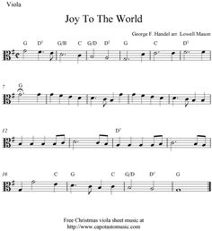 Viola Sheet Music for beginners christmas music | Free easy Christmas viola sheet music, Joy To The World