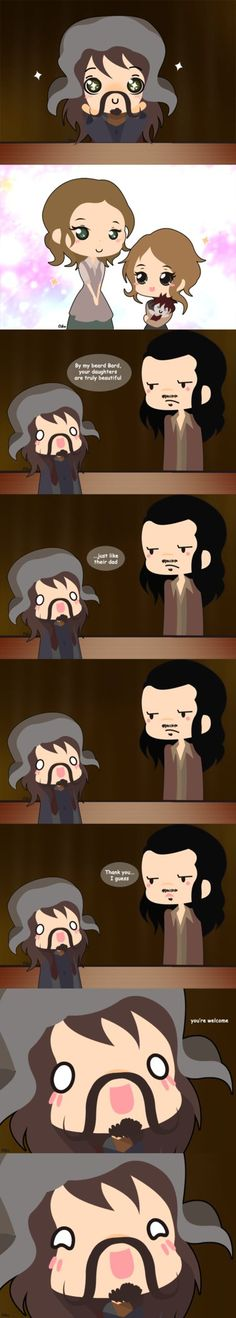 Bofur and Bard by CibiaH on deviantART, this is extremely hilarious when you remember that Bard's daughters are played by Bofur's actors daughters.