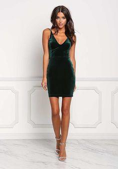 Hunter Green Back Cross Strap Velvet Bodycon Dress - Bodycon - Dresses #bodycondresshomecoming