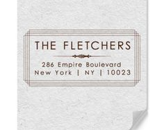 Personalized Return Address Rubber Stamp In Art Deco Inspired Style Now Available In Wood Mounted Or Self-Inking Stamp