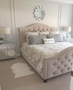 Tufted headboard, mirrored and clean nightstands, minimal but crisp and clean decor. I would put white puffy bedding. ~ for dark bedroom: I like the light and fresh feel of this room. I like the use of mirrored or open side tables to reflect light. Master Bedroom Design, Dream Bedroom, Home Bedroom, Bedroom Ideas, Bedroom Designs, Bedroom Furniture, Magical Bedroom, Light Bedroom, Headboard Ideas
