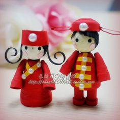 quilled Chinese wedding dolls