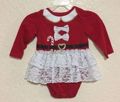 Garanimals Red Girl's Christmas 1pc outfit Lace bowtie Black Belt 6-9 mo #Garanimals