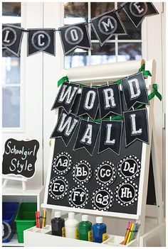 Chalkboard and Polka Dot classroom theme by Schoolgirl Style… Chalkboard Numbers, Chalkboard Classroom, Chalkboard Decor, School Chalkboard, Chalkboard Lettering, Diy Classroom Decorations, Classroom Themes, Classroom Organization, Classroom Labels