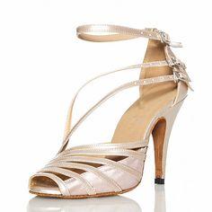 55a8ec5a4d7 Shall We® Women s Latin Shoes   Salsa Shoes PU Leather   Satin Sandal  Buckle Customized Heel Customizable Dance Shoes Grey   Nude   Black   EU41