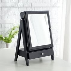Easel Table Top Jewelry Box w/ Linen Lining - Black - 11W x 16.3H in.