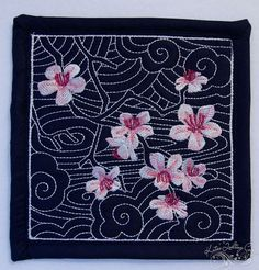A mini quilt for a swap - sashiko with embroidered cherry blossoms by MagnoliaFly, via Flickr