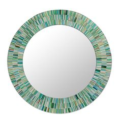 Handmade Mosaic Wood Glass Wall Mirror