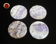 4 Amethyst Coaster Set, Stone Coasters, Round Amethyst Coasters, Cut Amethyst Slabs, Polished Amethyst Coasters, Felt Bottom Coasters