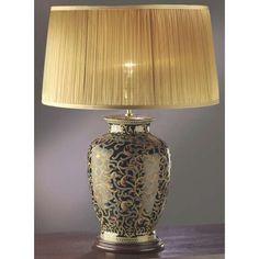 Stojąca LAMPA stołowa LUI/MORRIS LARGE+LUI/LS1033 Elstead ceramiczna LAMPKA abażurowa wzorki czarny złoty