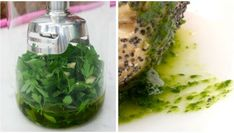 Garlic and parsley oil recipe , Ingredients: 125 ml olive oil 25 gr parsley leaves 1 clove of garlic Preparation of garlic and parsley oil: Peel the garlic clove, cut it into slices . Sauce Recipes, Cooking Recipes, Healthy Recipes, Free Recipes, Deli Food, Puerto Rican Recipes, Recipe For Mom, Vegan Options, Vegetable Dishes