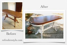 Oak Sofa Table Makeover {MMS Milk Paint} - Refresh Restyle -- This is how I want to do my kitchen table