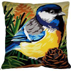 Mésange - Kit Coussin demi-point de croix - SEG de Paris Cross Stitch Pillow, Cross Stitch Bird, Cross Stitch Designs, Cushions, Pillows, Bargello, Blue Jay, Le Point, Atc