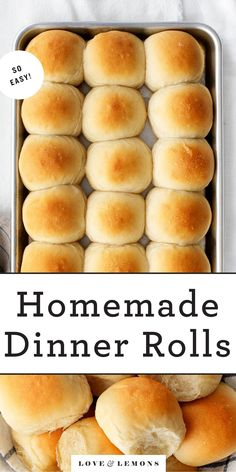 Learn how to make perfect homemade dinner rolls! Soft, fluffy, flaky, and tender, they're an easy, delicious addition to any meal. | Love and Lemons #rolls #baking #sidedish #vegan