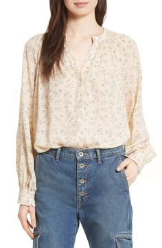 New Vince Smocked Floral Silk Blouse WHITE fashion online. [$385] new offer from topshoppingonline<<