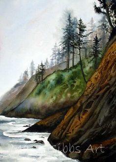 Landscapes | Mary Gibbs Art Watercolor Misty Coast