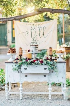 Rustic vintage wedding ideas rustic vintage decor rustic vintage dessert display with a paper banner rustic Wedding Cake Display, Cool Wedding Cakes, Wedding Desserts, Wedding Tables, Wedding Cake Backdrop, Wedding Reception, Outdoor Dessert Table, Vintage Dessert Tables, Planners