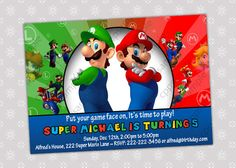 Super Mario Luigi Bros Birthday Party by CreativePartyPixels, $5.50