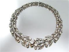 Camilla Bergeron silver topped gold and diamond necklace Circa 1860s