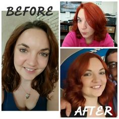 Our inspiration for this color was Black Widow. The top right was taken just one day after we applied the color and the bottom left was taken after a wash or two. I pre-lightened her hair due to color build up on the ends and achieved the final result by applying Matrix SoColor 7CC (3oz.) and 6RC (1.5oz.) and 10 vol. developer (4.5oz.)